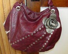 Nice Maroon Extra Large Shoulder Satchel Shopper Tote Purse Bag Handbag Flower