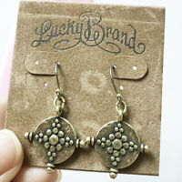 New Lucky Brand Earrings Bronzed Cute Antique Golden Vintage Style #84