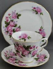 QUEEN ANNE TEACUP & SAUCER TRIO-PINK ROSES  M443