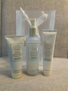NIB MKay Satin Hands Pampering Set of 3 Fragrance Free -Cream Scrub Softener