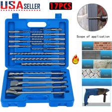 17pcs Sds Plus Rotary Hammer Drill Bits Chisel Concrete Masonry Hole Tool Plus