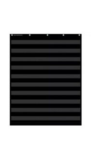 "20744 Black Pocket Chart for School Teachers Use 10 Rows Clear Pockets 34"" x 44"""