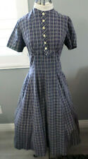 50's Vintage Betty Barclay Rockabilly Blue White Circle Skirt Day Dress S M