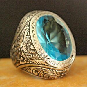 Original Dapper Aquamarin Stein Handarbeit Ringgröße 6-12 925 Sterlingsilber