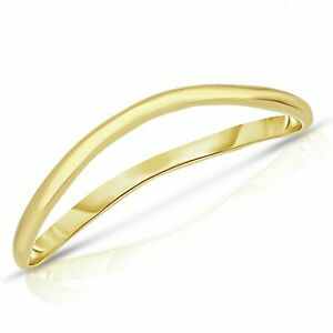 Thin Comfort Fit Curved Wave Thumb Ring, 1.5mm, 10k Gold, in sizes 7 to 13