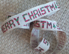 """Ribbon wire edge Merry Christmas Burlap w/ green Red glitter  2.5"""" Wide 5 Yards"""