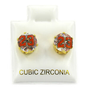 Mens Gold 7mm Round Surgical Steel Clear CZ Hip Hop 23 Stud Earrings