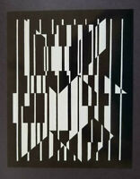 """Victor Vasarely """"Altai II"""" Mounted Offset b/w Lithograph 1971"""