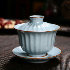 Chinese porcelain gaiwan cup bowl with saucer crackle glaze ruyao craft tureen