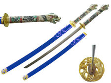 "42.5"" Japanese Samurai Katana Sword w/ Dragon Open Mouth Handle Highlander Blue"