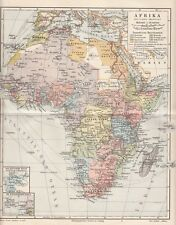 1899 Afrika Africa Original Alte Landkarte Druck Antique Print Lithographie