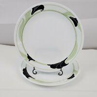 """Set of 2 Vintage Corelle Black Orchard Dinner Plates 10 1/4"""" Black, Green Floral"""