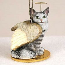 Maine Coon Silver Cat Angel Ornament
