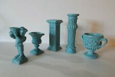 Dolls House  Five Piece Pedestal urns column Cherub Statue Garden Patio Set