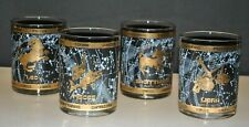 SET OF (4) VINTAGE ASTROLOGY ZODIAC SIGNS DOUBLE OLD FASHIONED GLASSES