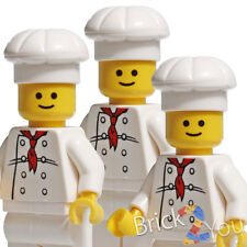 Lego 3x Chef Cook Minifigure White Torso with 8 Buttons from Parisian Restaurant