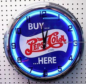 "17"" Buy PEPSI COLA Here Sign Blue Neon Clock"
