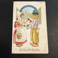 Easter~Dutch Kids Exchange Colored Eggs~Rabbit in Pocket~Gold Leaf Emb~Nash E-71