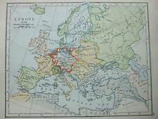 ANTIQUE PRINT MAP DATED 1905 EUROPE IN 1730 BOUNDARY OF THE EMPIRE COLOUR ATLAS