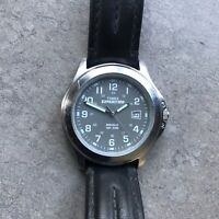 Timex Expedition Mens Watch Silver Tone Case Gray Dial W/Date & Indiglo B-Q