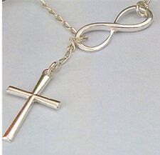 Plated Lariat Necklace Infinity and Cross Silver
