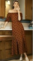ANTHROPOLOGIE Lucienne Off-The-Shoulder Maxi Dress Brown BNWT rrp £148 UK 16