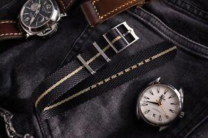 20mm Black & Beige Twill Fabric Adjustable Single Pass Nato Watch Strap