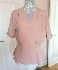 Primark Women's Nude Pink Short Sleeve V-Neck Peplum Style Cropped Top ~ UK 14