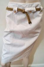 Yves Saint Laurent Rive Gauche Crema 100% Algodón Con Cinturón Falda Lápiz 38 UK10