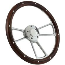 "14"" Billet & Mahogany Wood Half Wrap Steering Wheel Kit 1970 - 1977 Ford Cars"