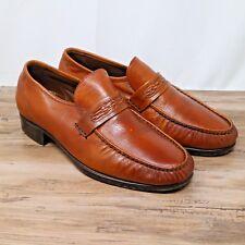 Vintage Florsheim Mens Tan Light Brown Leather Loafers Slip On Dress Shoes Sz 8
