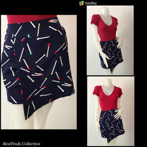 Blue  Printed Skort with Wrap over Detail  Medium to Large