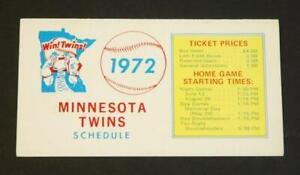1972 Minnesota Twins Baseball Pocket Schedule