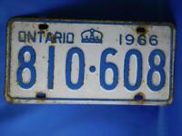 ONTARIO LICENSE PLATE 1966 810 608  VINTAGE CANADA CROWN CAR SHOP GARAGE SIGN