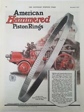 1920 Américain Gaufrées Piston Vintage Rouge Fire Camion Pompier Annonce