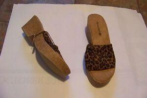 womens american eagle puffy leopard print wide band cork wedge heels shoes 7 1/2