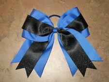 "NEW ""BLUE & BLACK GLITTER"" Cheer Bow Pony Tail 3 Inch Ribbon Girls Cheerleading"
