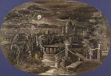 German Artist-St. Peter in Rome under a full moon-shush Drawing 1840/1845