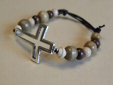 Black Leather Wood Adjustable Surf Cuff/Wristband/Bracelet Tibetan Silver Cross