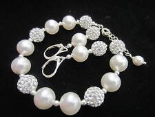 CRYSTAL AND PEARL 925 SILVER BRACELET AND EARRINGS made with SWAROVSKI ELEMENTS