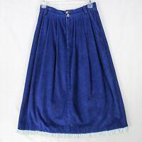 "Vintage 90s LL Bean Blue Corduroy Midi Skirt 10 Waist 26"" Ruffle Modest A-Line"