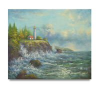 NY Art - High Tide at the Lighthouse Shore 20x24 Original Oil Painting -On Sale!