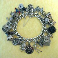 Vintage Antique Sterling Charm Bracelet Halloween Nuvo Chim James Avery