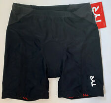 "TYR Womens Black XL Triathlon Exercise Shorts Amp Pad USA Made COMPETITOR 6"" New"