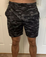 "Lululemon Mens Size M Pace Breaker Short 7 "" Linerless Camo Black VMCB Run Yoga"