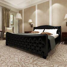 lit luxury grand luxe cuir look noir 140 x 200 sommier inclus