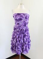 White House Black Market Purple Floral Strapless Ruffle Cocktail Party Dress 8