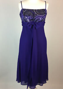 Debut Debenhams Purple Dress UK 14Party Cocktails Prom Sequins Beads Lined