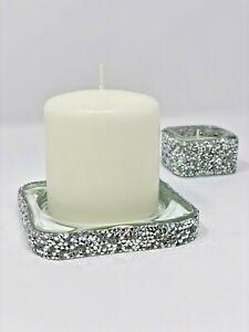 Silver Candle Holder Tray / Trinket Tray / Ashtray - Luxury Gift Crushed Diamond