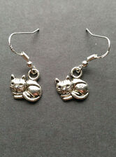 Cute & Cuddly Kitty Cat Earrings on .925 Sterling Silver French Hooks